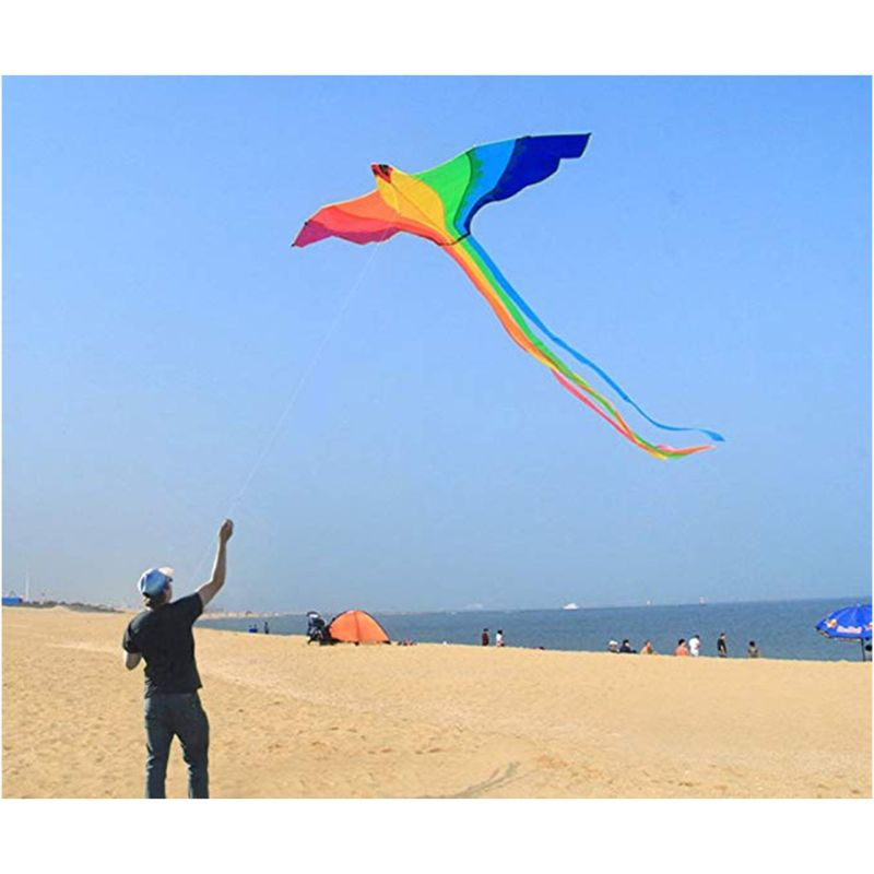 Phoenix Kite With Long Colorful Tail With Handle Line Outdoor Fun Kids Toy 72XC