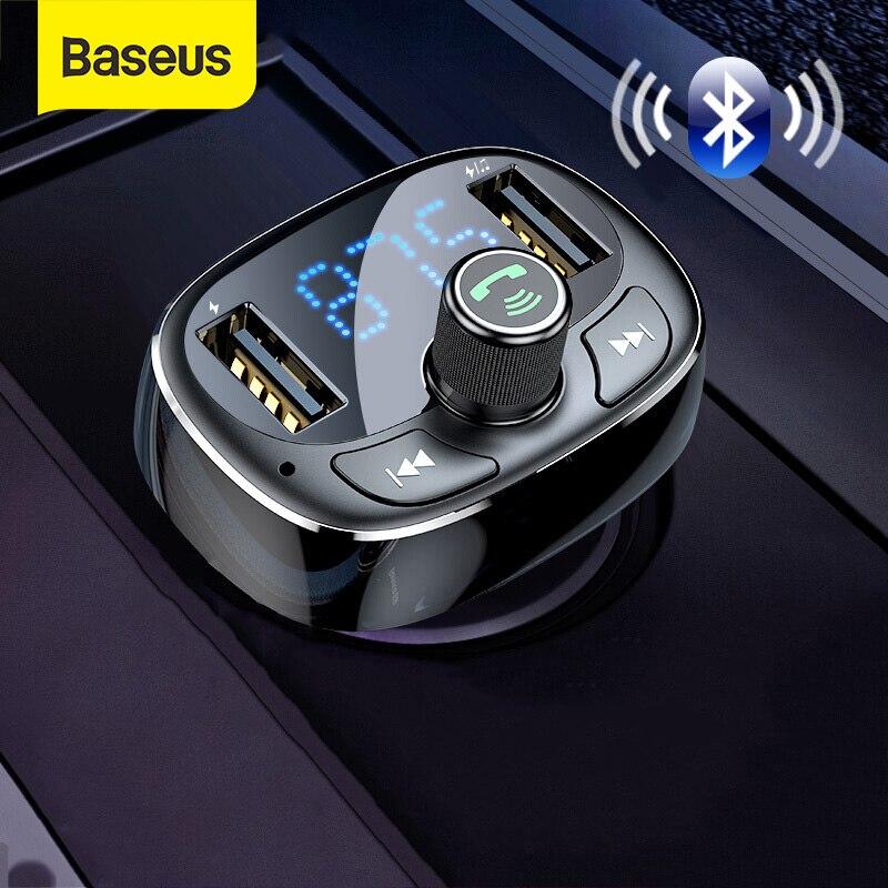 TF Card MP3 Music Player U Disk Wireless FM Radio Transmitter Adapter Car Kit Dual USB Type c Charging Ports Baseus Wireless MP3 car Charger Dual USB FM Transmitter for Car Hands Free Calling