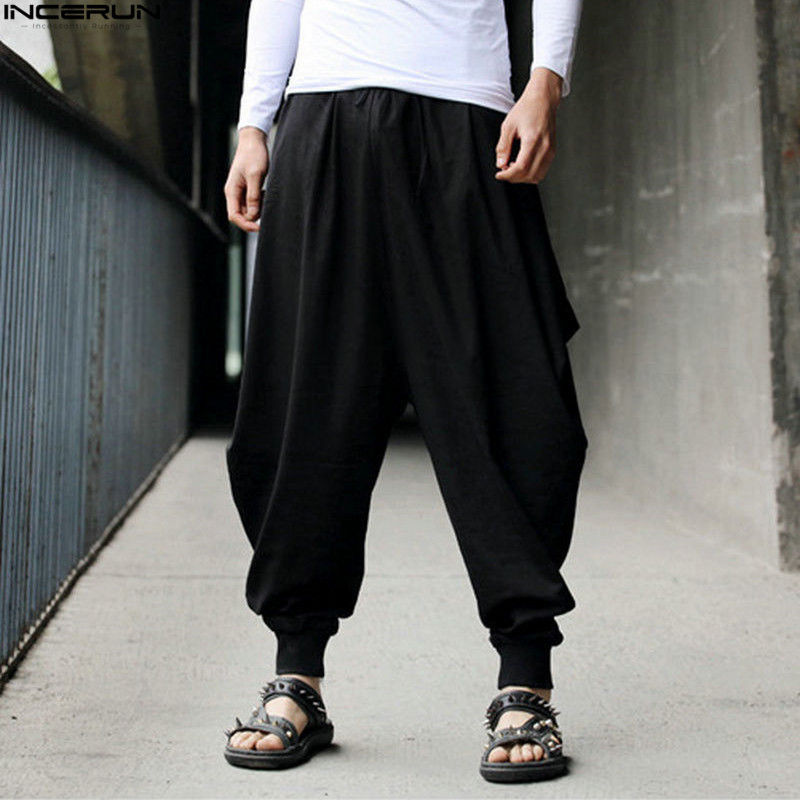 INCERUN Plus Size Cotton Linen Harem Pants Men Baggy Pants Japanese Style Mens Crotch Wide Leg Pants Casual Loose  Trousers