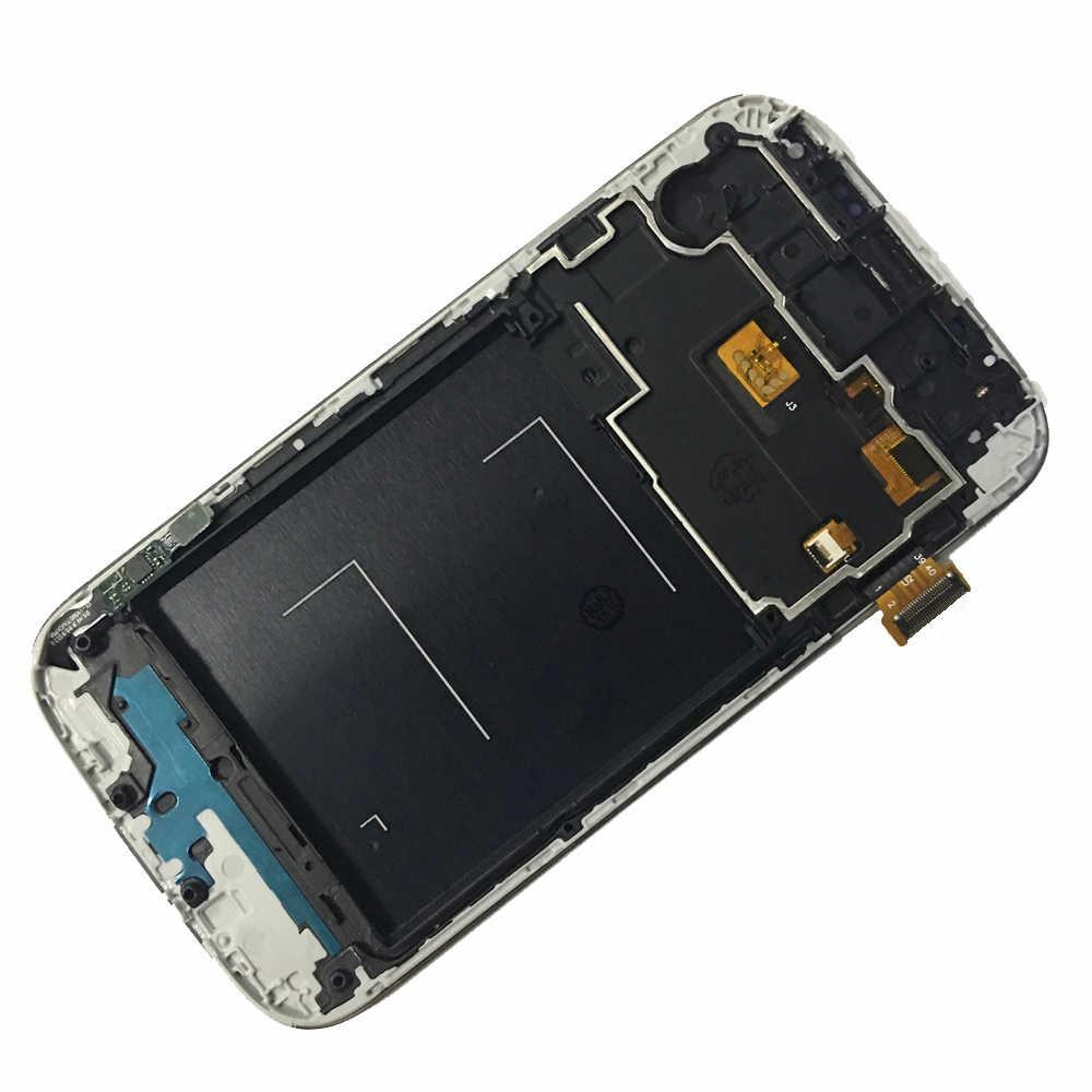 شاشات lcd لسامسونج غالاكسي S4 i9500 i9505 شاشة الكريستال السائل محول الأرقام بشاشة تعمل بلمس مع الإطار لسامسونج S4 I9500