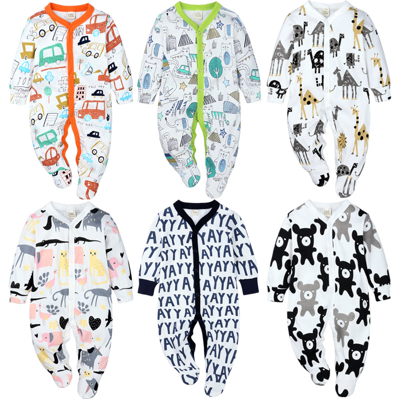 2019 Autumn Newborn Baby Rompers   Cartoon Printed Cotton Long Sleeve Jumpsuit Infant Boys Girls Clothing