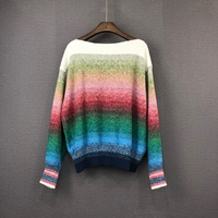 2019 New Rainbow Sweater Women Jumper Winter Clothes Casual Cotton O Neck Full Pullovers Batwing Sleeve Geometric