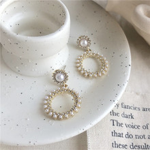 2020 New Arrival Fashion S925 Silver Plated Stud Pearl Circle Earring Women's Accessory Jewelry 2020 new arrival fashion cool s925 silver plated stud metal style c shaped earring for women accessories jewelry