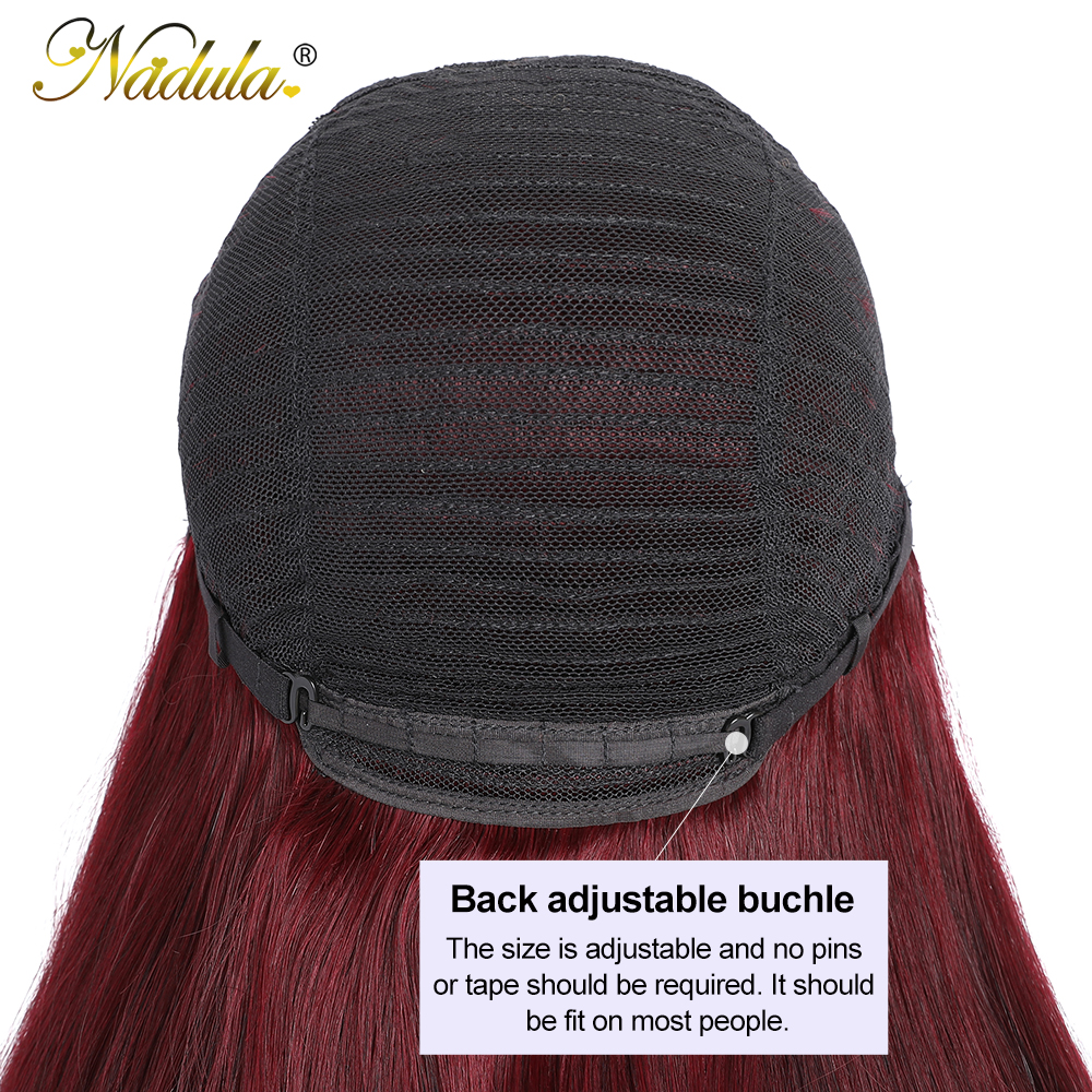 """Nadula Hair Wig #99J Straight Wig With Bangs  Wigs Pre Plucked Full Machine Wigs 18"""" 20"""" Straight Hair 4"""