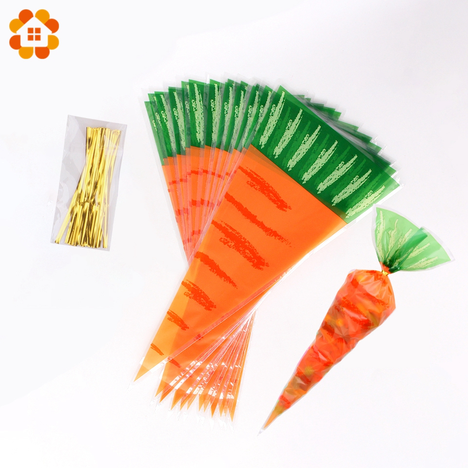 20PCS Kids Birthday Party Decoration Easter Carrot Candy Bag Easter Rabbit Gift Bag Candy Cones Transprant Plastic Bag