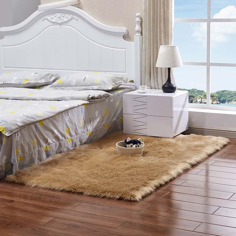 Очень мягкие прямоугольные коврики из искусственного меха овчины для спальни, напольный ворсистый шелковистый плюшевый ковер, белый ковер из искусственного меха, прикроватные коврики - Цвет: khaki