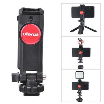 Ulanzi ST-06 regulowany statyw do telefonu zamontować aparat Hot Shoe Smartphone klip 360 stopni obrót dla lustrzanka cyfrowa akcesoria tanie i dobre opinie CN (pochodzenie) ABS + metal Camera Phone Holder Phone Tripod Mount Holder