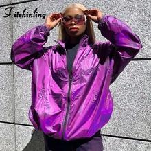 Fitshinling Oversized BF Jacket Women Glitter Fashion Casual Loose Winter Coat Outerwear Purple Zip-Up Veste Femme Jackets Sale