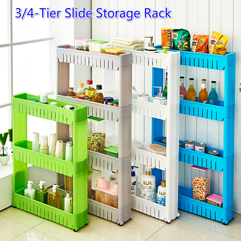 Slide Out Storage Rack Tower Kitchen Rolling Castor Shelf Bathroom 3 or 4 Tier Rack Multipurpose Trolley Spice Organizer Holder(China)