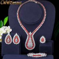 CWWZircons 4pcs Full Cubic Zircon Big Bridal Wedding Earring Necklace Women Dinner Party Costume Jewelry Set for Brides T393