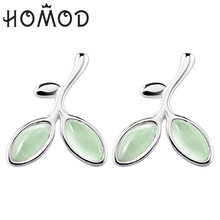 HOMOD Fashion inlay Opal Tree of Life Green Leaves Stud Earrings For Women Party Brand Jewelry Gift