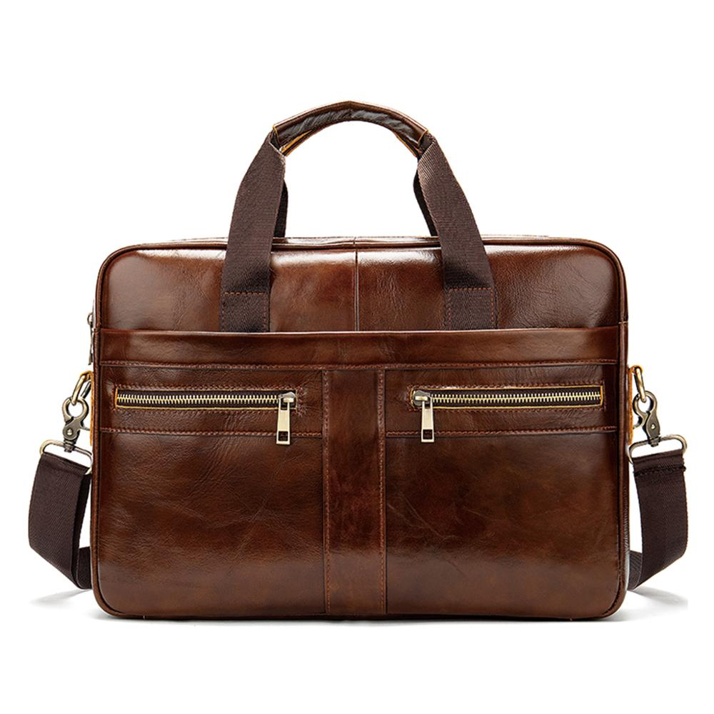 Class Designer Genuine Leather Large Capacity Shoulder Men Briefcase
