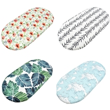 97BE Baby Moses Basket Sheets Crib Care Printed Mini Cradle Protector Changing Pad Mattress Removable Cover