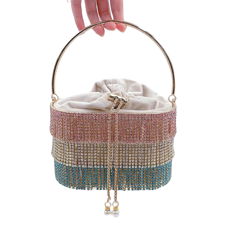 Bag For Women Rhinestone Tassel Evening Clutch Bag Women Luxury Diamond Shoulder Bag Ladies Alloy Metal Cage Basket Purse-BeeInFly