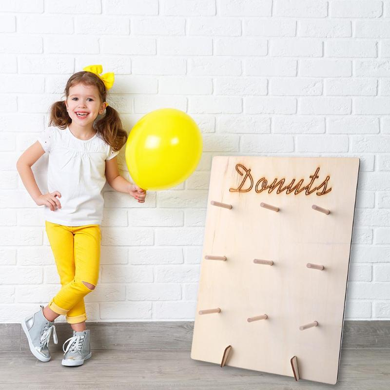 Wooden Party Favor Doughnut Shelf Treat Stand for Baby Shower Birthday Party Necessary Household Holiday Party Gadgets