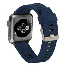 Strap for Apple Watch 42MM 38MM Suitable Pin Buckle Replacement Watches Blue Silicone Bands correa In Smart Watchbands