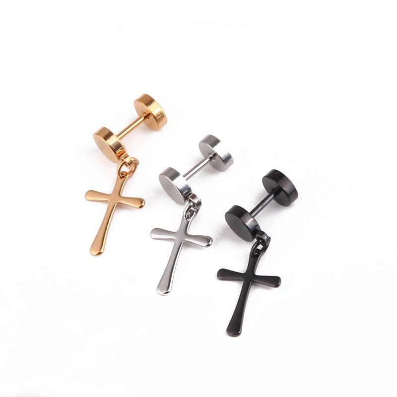 1 Uds pendientes de aro crucifijo de moda para mujer, acero de titanio fresco, pendientes de plata y oro negro para hombres, joyería