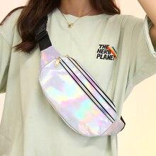 Laser Waist Bag Women 2021 New Multi-color Gradient Dazzling Single Shoulder Bag Korean Version Chest Messenger Bag Zero Wallet
