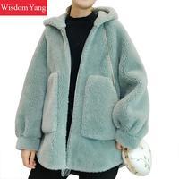 Winter Warm Real Sheep Wool Fur Hooded Women Coats Jackets Cashmere Green Blue Oversize Overcoat Woollen Korean Coat Outerwear