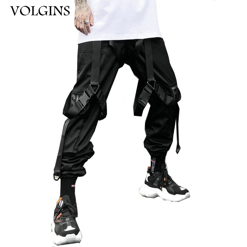 Streetwear Cargo Pants Men Harajuku Tactical Pants Ribbon Multi-pocket Trousers Women Elastic Waist HipHop Male Black Pant