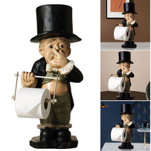 Toilet Butler with Roll Paper Resin Holder Cute Fun Resin Ornament Roll Paper Holder Stand For Bathroom C1