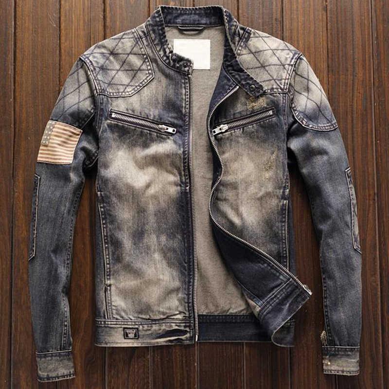 Retro moda Slim Fit erkek kot otomotiv ceket mont amerikan bayrağı Patchwork erkek elbise takım elbise Denim ceket giyim A192