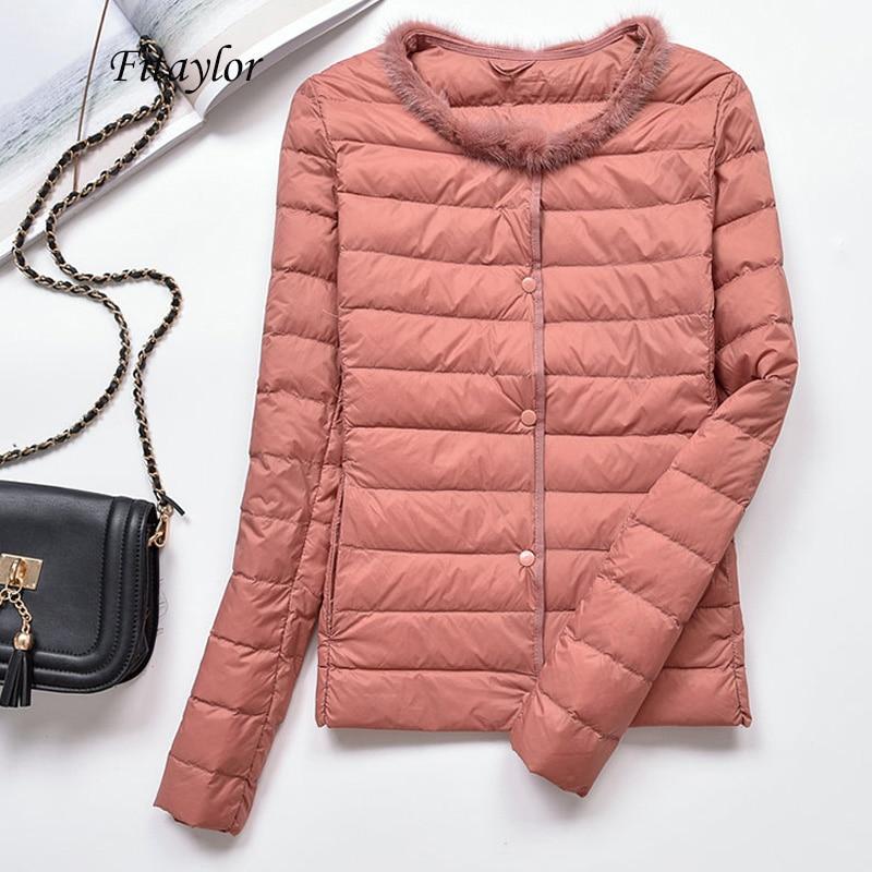 Fitaylor Women Ultra Light White Duck Down Jacket Winter Warm Slim Short Coat Female Plus Size 4xl Single Breasted Down Parkas