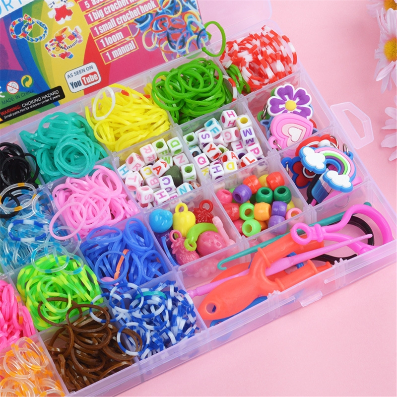 New 1500pcs Rainbow Rubber Bands Set Kid Multi-functional Classic Practical Funny DIY Toys Rainbow Woven Bracelet for Girl Gifts 4