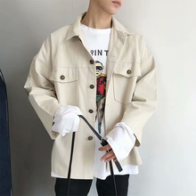 Autumn New Jacket Men Fashion Washed Solid Color Casual Coat Man Streetwear Wild Loose Hip Hop Bomber M-2XL