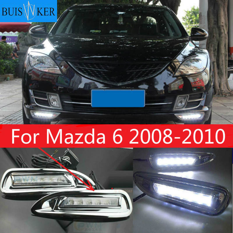 Car 2pcs for <font><b>Mazda</b></font> <font><b>6</b></font> Mazda6 2008 2009 2010 LED DRL Daytime Running <font><b>Light</b></font> Daylight headlight fog lamp cover car-Styling image