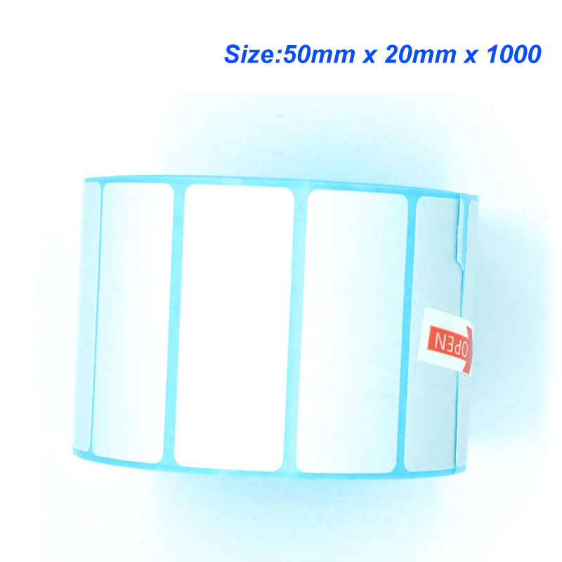 High quality 50mm x 20mm x 1000 Thermal barcode paper Thermal sticker paper for thermal printer