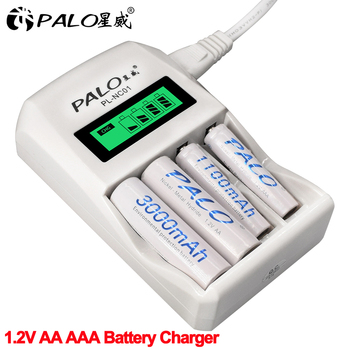 PALO 4 Slots Smart LCD Intelligent AA AAA Battery Charger Fast Charger with 1.2V AA AAA NiCd NiMh Rechargeable Battery