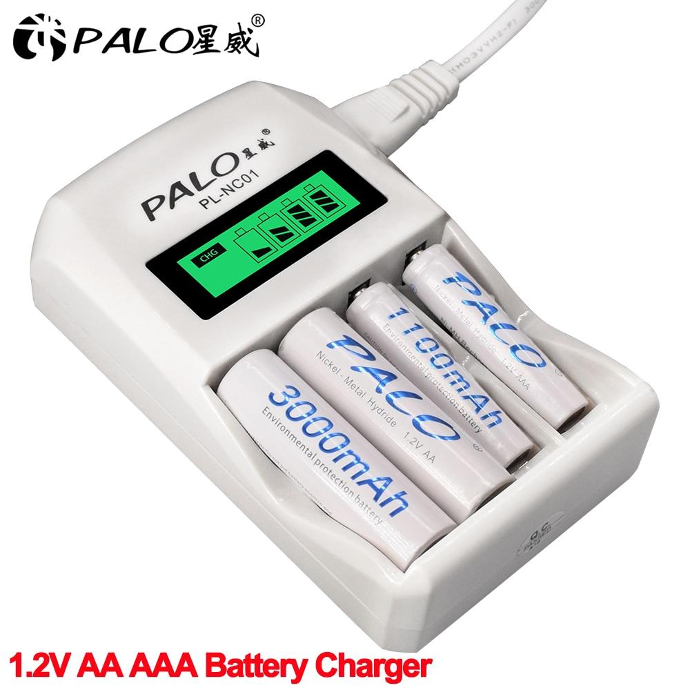 Palo 4 slots inteligente inteligente carregador de bateria carga rápida para 1.2 v aa/aaa nicd nimh bateria recarregável display lcd