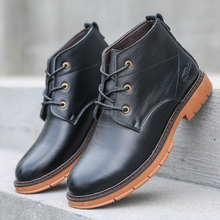 цены Men's Martin Boots Genuine Leather Autumn Winter British Tooling Boots Fashion Men's Casual Ankle Boots Lace Up High Top Shoes