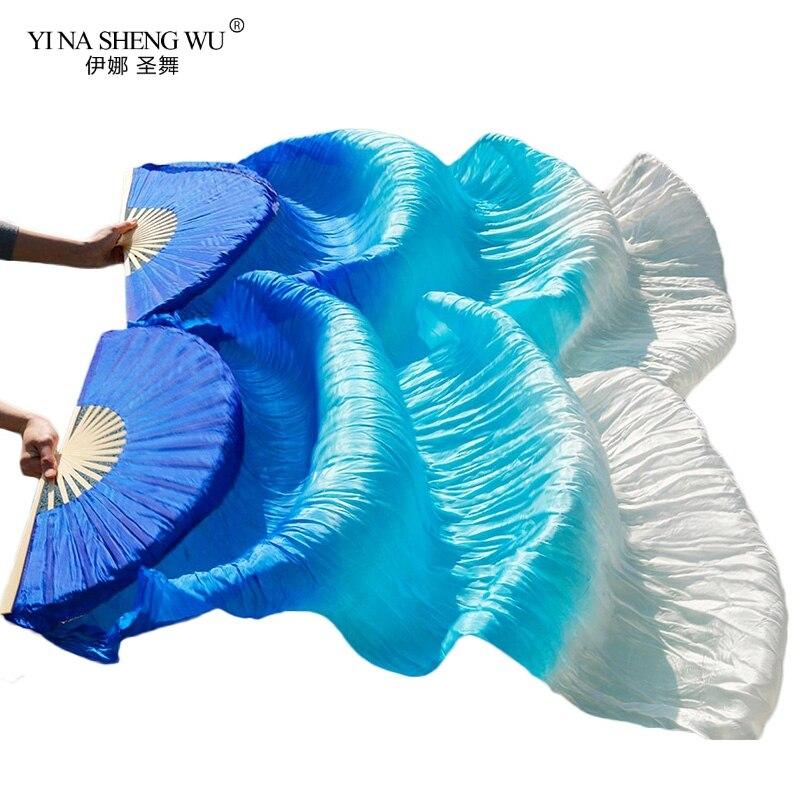 1 par/1 pc imitação de seda dança do ventre véu fãs costelas de bambu artesanal tingido desempenho longo fã dança do ventre imitação de seda fãs