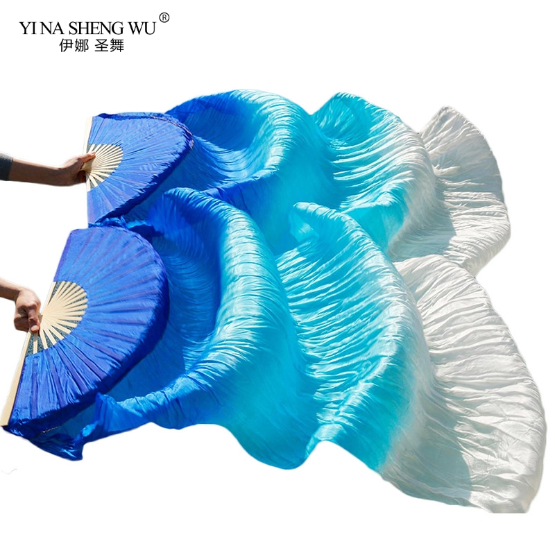 1pair/1pc Imitation Silk Belly Dance Veil Fans Bamboo Ribs Handmade Dyed Performance Long Fan Belly Dancing Imitation Silk Fans