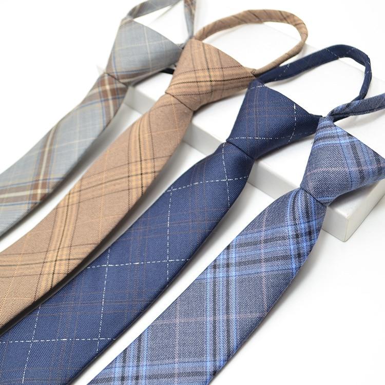 New 48*6cm Mans Tie Plaid Slim Skinny Ties Cotton Zipper Necktie Easy To Pull Designer Tie Wedding Party Gifts For Men Neckwear