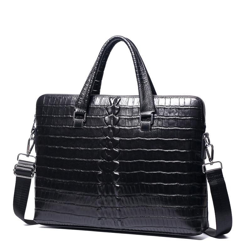 New Luxury Cow Genuine Leather Business Men' Briefcase Alligator Briefcase Shoulder Bag Men Messenger Bag Tote Computer Bag Hot