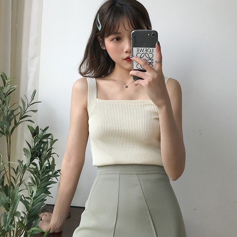 Summer Women's Sexy Square Collar Solid Color Sleeveless Pullover Knitted Crop Sexy Tank Tops Women