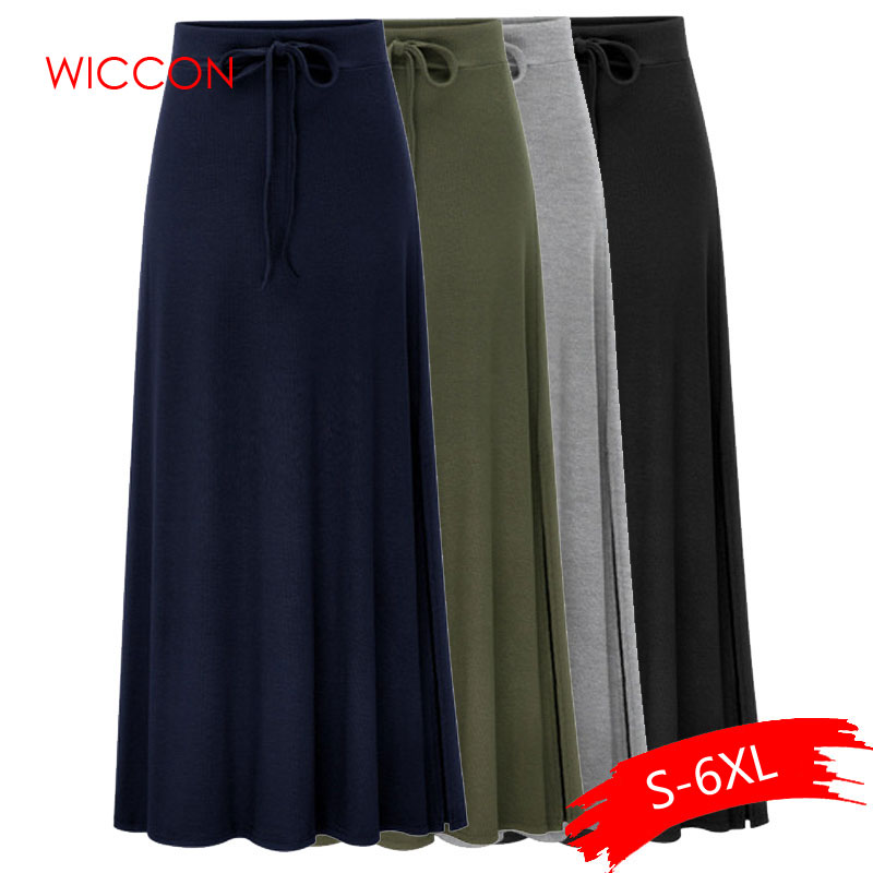 Plus Size Knitting Skirts 3Xl 4Xl <font><b>5Xl</b></font> Spring <font><b>Autumn</b></font> Army Green Lace Up Elastic Waist <font><b>Sexy</b></font> Hip Slim Large Size Long Casual Skirts image