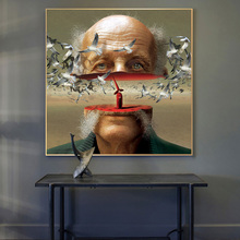 Abstract Surreal Art Half The Head Of Old Man Posters And Prints Canvas Painting On Wall Picture For Room Decoeration