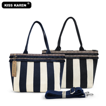 New 2019 Trendy Striped Casual Totes with Elegant Fringes Bag Women Handbags High Quality Canvas Tote Bags Womens Shoulder