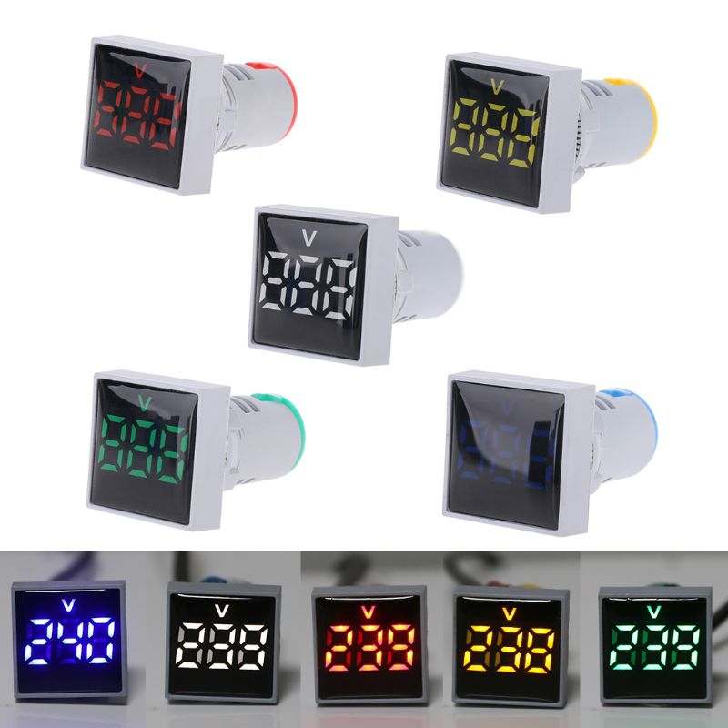 Digital Square Voltmeter AC 20-500V Volt Panel Meter Voltage Indicator LED Light 22mm Whosale & Dropship
