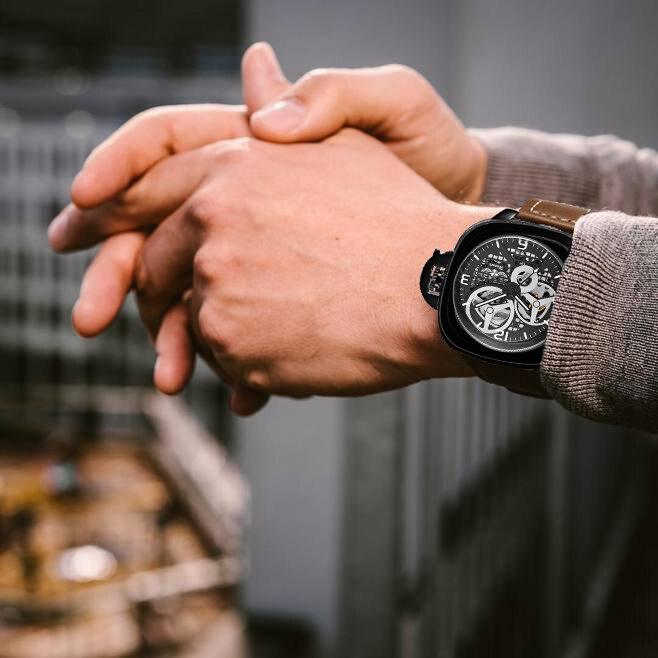 pulso mecânico automático pulseira couro marca superior