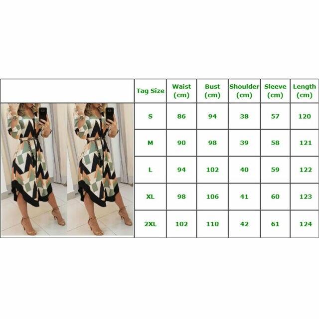 Womens Long Shirt Dress Wave Print Long Sleeve V-neck Casual Autumn Loose High Waist Holiday Midi Dress Vestidos Longo Plus Size 6