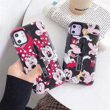 Funda de teléfono de dibujos animados de soporte escondido para iphone 11 Pro 8 7 6s 6 plus 2 en 1 funda de lujo de Mickey en relieve para iphone xs max xr x coque(China)