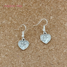 Kiss girl at heart Charm Earrings silver Fish Ear Hook 30pairs Antique Chandelier DIY Jewelry 13x33mm A-542e
