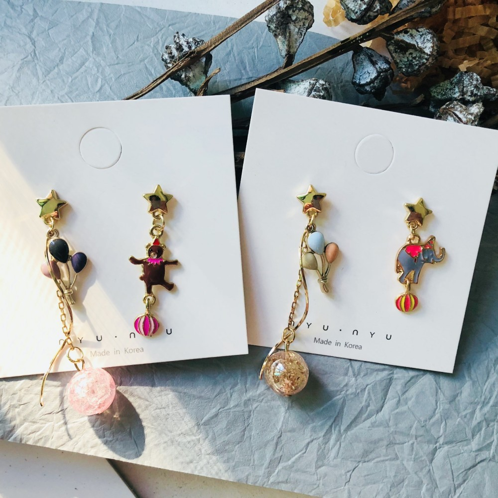 Женские асимметричные серьги-клоуны в Корейском стиле, распущенные бусины, воздушные шары, цирк, милые праздничные украшения