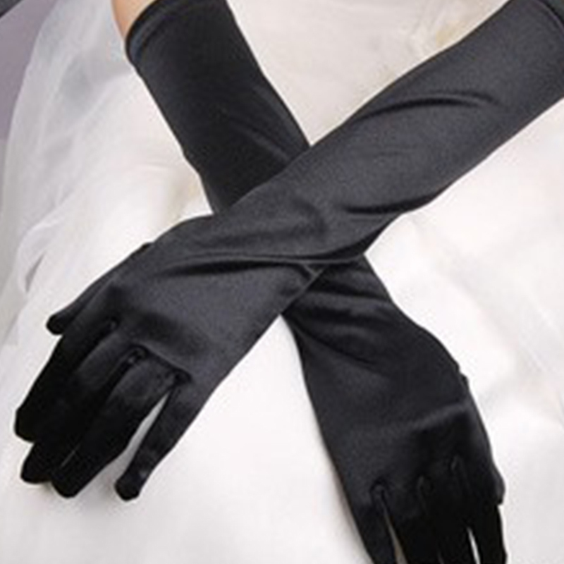 Chic Sexy Women Stretch Halloween Satin Gloves Ladies Elegant Solid Vintage Evening Party Prom Long Gloves Black White Gloves