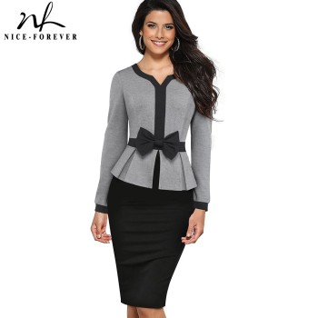 Nice-forever Winter Elegant Contrast Color Patchwork Office Bow vestidos with Long Sleeve Business Bodycon Women Dress B554
